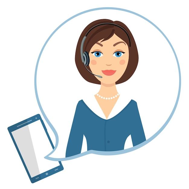 Bom atendimento ao cliente do call center, vetor de conversa por telefone Vetor grátis
