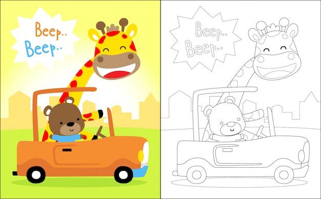 Bom desenho animado de animais em um carro Vetor Premium