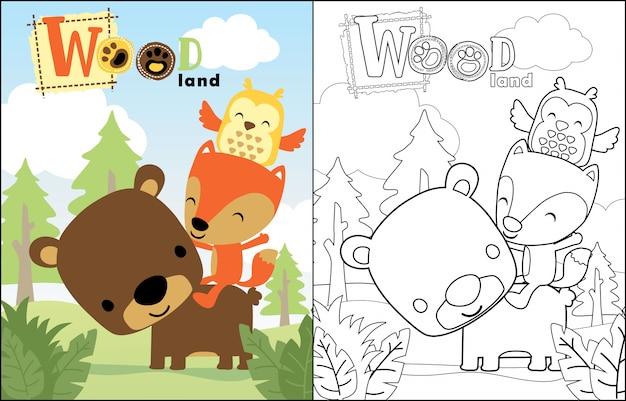 Bom desenho animado de animais na selva Vetor Premium