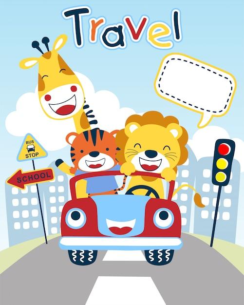 Bom desenho animado de animais no veículo engraçado Vetor Premium