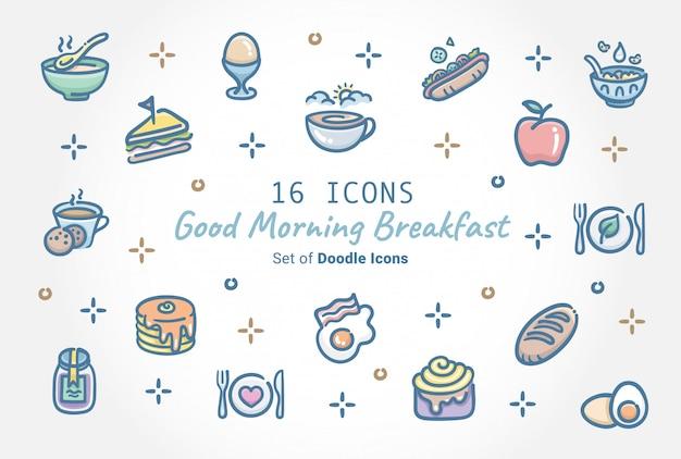 Bom dia café da manhã banner ícone design Vetor Premium