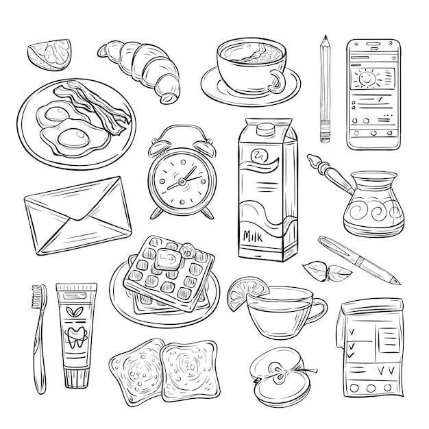 Bom dia doodle. café da manhã saudável, clima feliz de dia de verão. conjunto de desenho de esboço Vetor Premium
