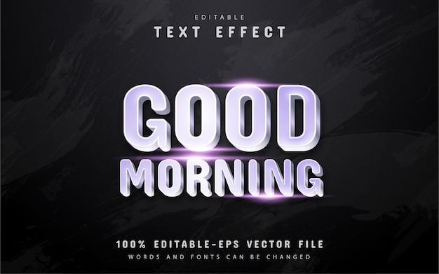 Bom dia, texto, efeito de texto estilo prateado Vetor Premium