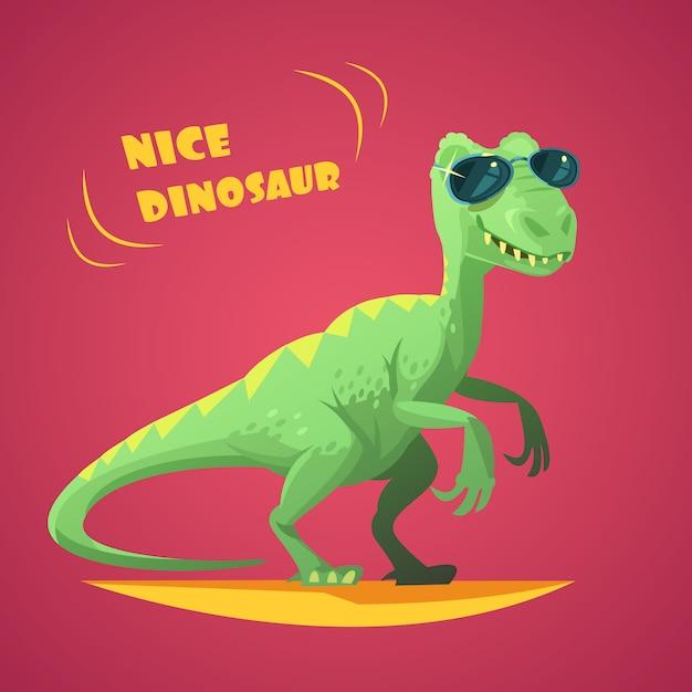 Bom dinossauro verde engraçado em óculos de sol, personagem de desenho animado brinquedo no resumo de impressão de cartaz de fundo vermelho Vetor grátis