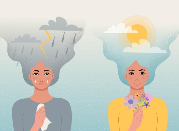 Bom humor e mau conceito. uma garota chora com nuvens, raios, chuva no cabelo e um lenço nas mãos, outra garota sorri com nuvens e sol no cabelo e flores na mão. Vetor Premium