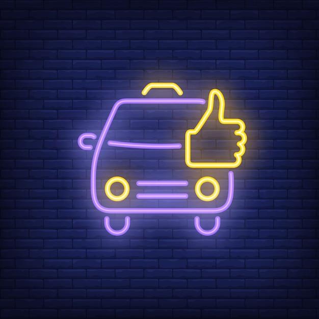 Bom sinal de néon de táxi Vetor grátis