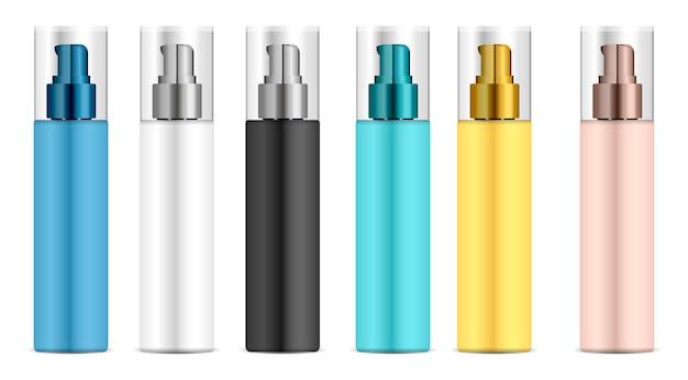 Bomba cosmética do distribuidor da garrafa plástica. Vetor Premium
