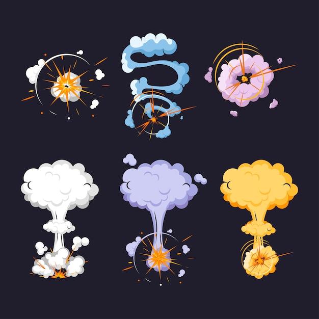 Bomba de coleção de explosões dos desenhos animados. Vetor Premium
