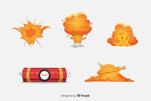 Bomba de desenhos animados e coleção de efeito de explosão de bomba Vetor grátis