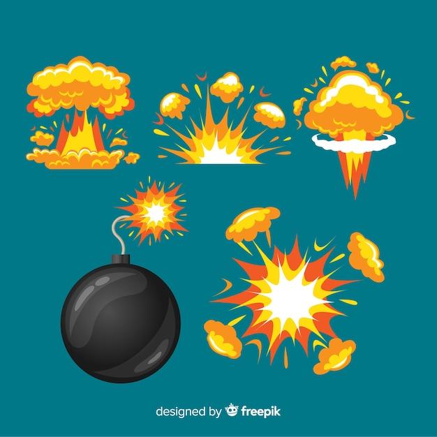 Bomba de desenhos animados e coleção de efeito de explosão Vetor grátis