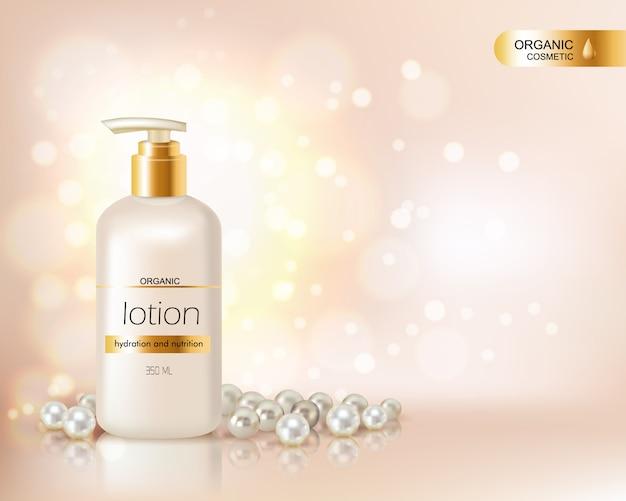 Bomba de garrafa superior com loção cosmética orgânica e tampa de ouro decorada com dispersão de pérolas e gl Vetor grátis