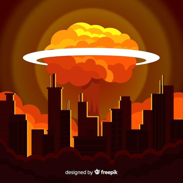 Bomba nuclear plana em uma cidade Vetor grátis