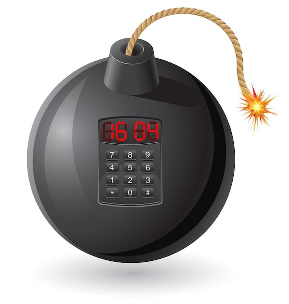 Bomba preta com um fusível e um relógio em chamas Vetor Premium