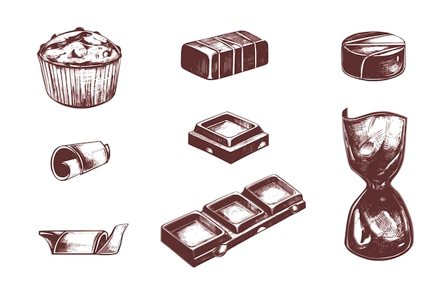 Bombons de chocolate e cacau vintage mão desenhada conjunto. Vetor Premium