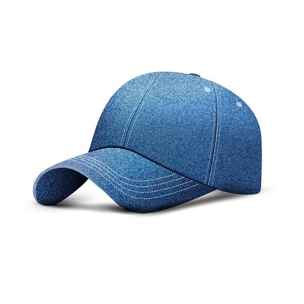 Boné de beisebol jeans, chapéu boné uniforme, estilo 3d realista Vetor Premium
