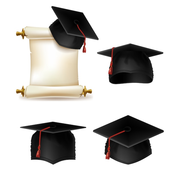 Boné de formatura com diploma, documento oficial de ensino em universidade ou faculdade. Vetor grátis
