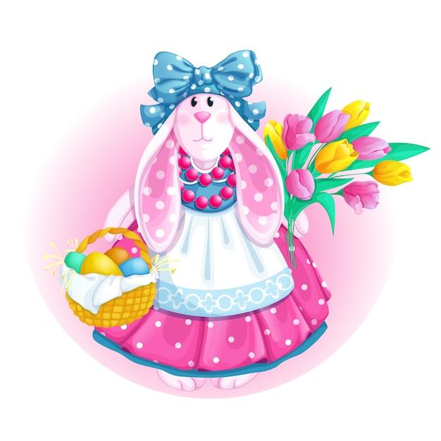 Boneca branca do coelho com cesta de easter e ramalhete das tulipas. Vetor Premium