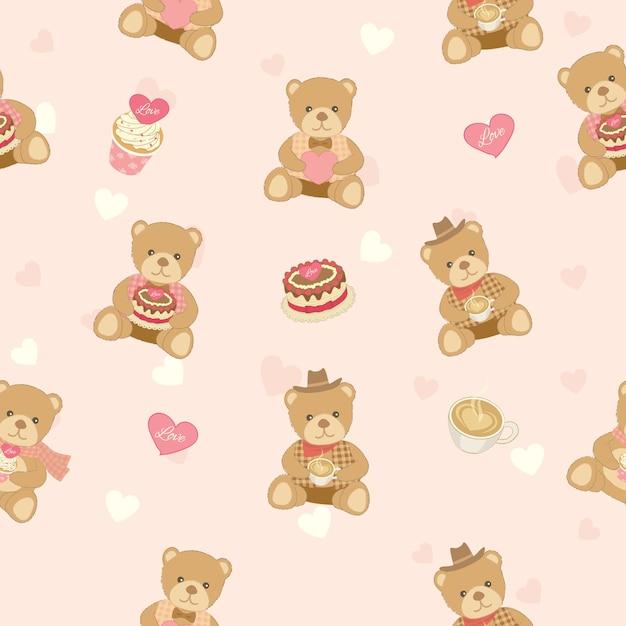 Boneca de urso com design de bolos para padrão sem emenda Vetor Premium