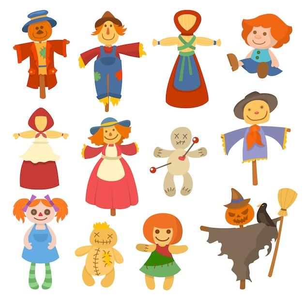 Bonecas de jardim diferentes brinquedo personagem jogo vestido e fazenda espantalho rag-boneca ilustração Vetor Premium