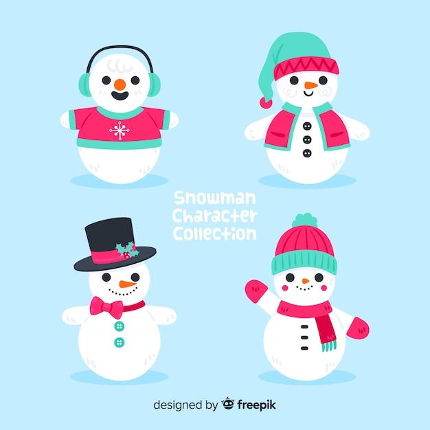Boneco de neve bonito coleção de natal em design plano Vetor grátis