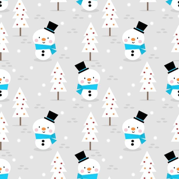Boneco de neve bonito no padrão sem emenda de temporada de natal Vetor Premium