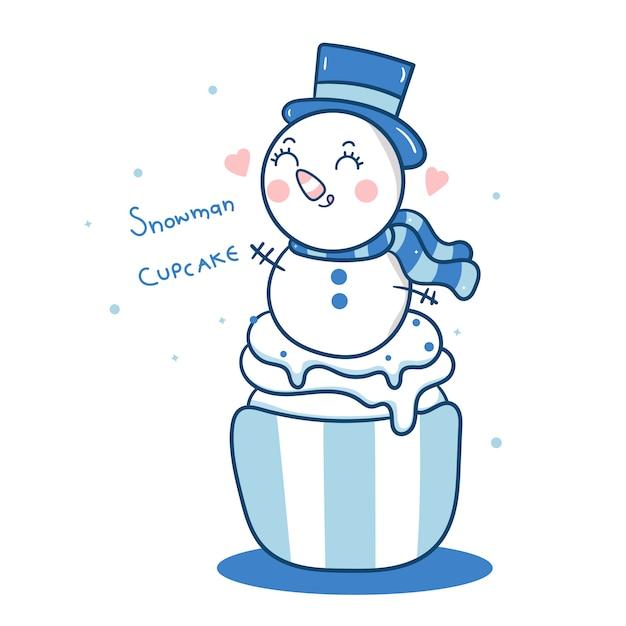 Boneco de neve bonito vector cupcakes de natal dos desenhos animados Vetor Premium