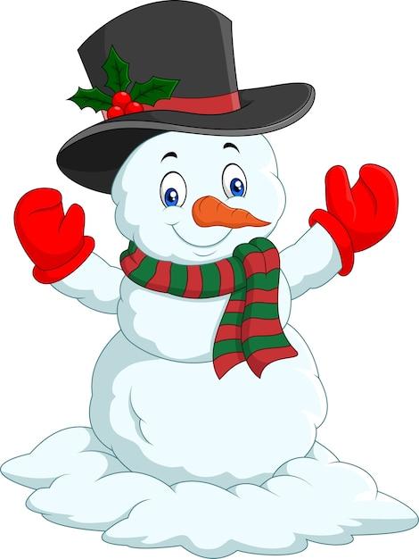 Boneco De Neve Feliz Dos Desenhos Animados Isolado No Fundo Branco