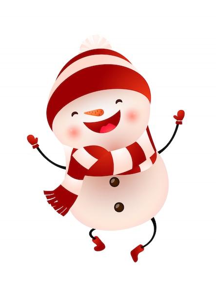 Boneco de neve feliz em boné e cachecol pulando ilustração Vetor grátis