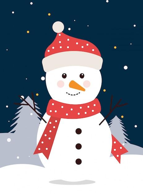 Boneco de neve feliz natal na paisagem de inverno Vetor grátis