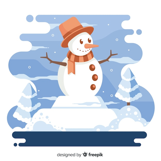 Boneco de neve sorridente com fundo de natal chapéu e cachecol Vetor grátis