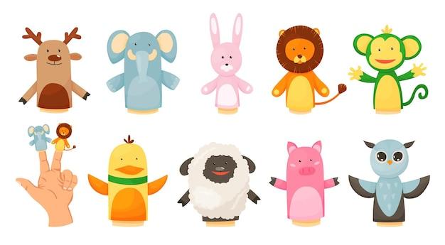 Bonecos com as mãos ou dedos brincam com a coleção de bonecos Vetor Premium