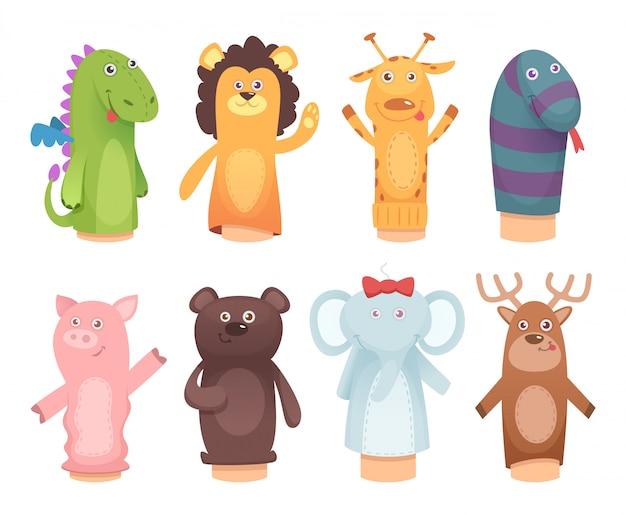 Bonecos de mãos. brinquedos de meias para crianças engraçadas crianças jogos personagens isolados Vetor Premium