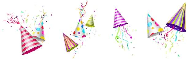 Bonés de aniversário com fitas coloridas e confetes Vetor grátis