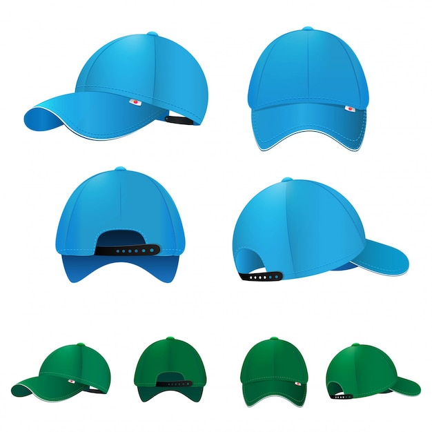 Bonés de beisebol em branco em diferentes lados e cores. ilustração vetorial Vetor Premium