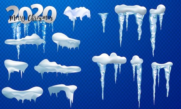 Bonés de neve, bolas de neve e montes de neve. coleção de vetores de boné de neve. decoração de inverno Vetor Premium