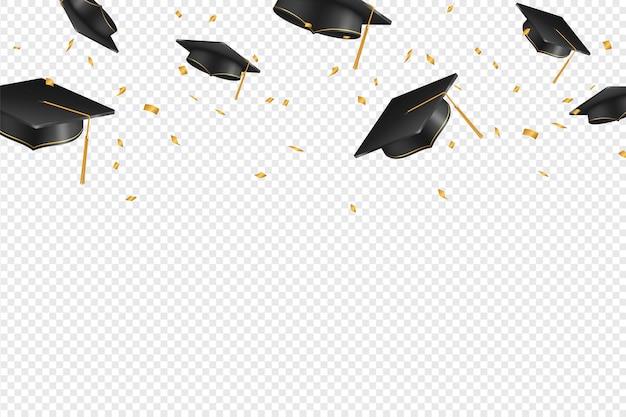 Bonés e confetes de pós-graduação em um fundo transparente Vetor Premium