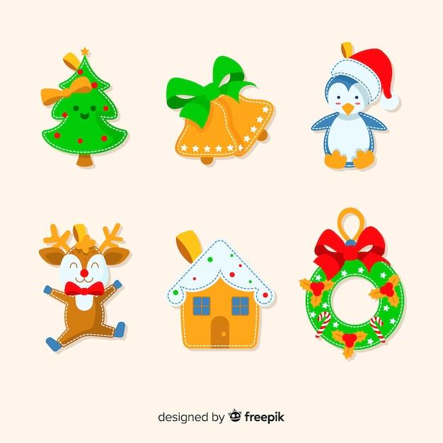 Bonita decoração festiva para festa de natal Vetor grátis