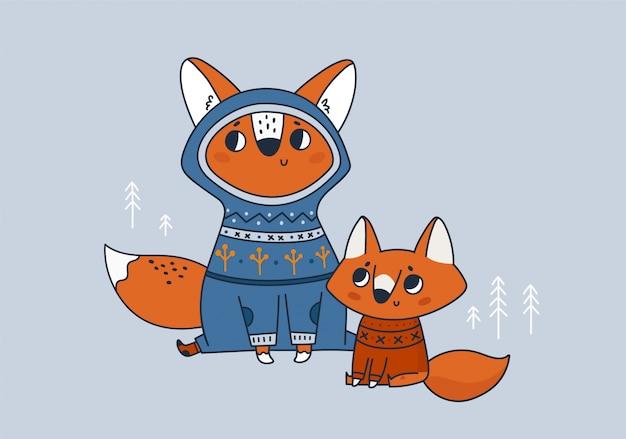 Bonita família de raposa. melhor mãe, pai de todos os tempos Vetor Premium