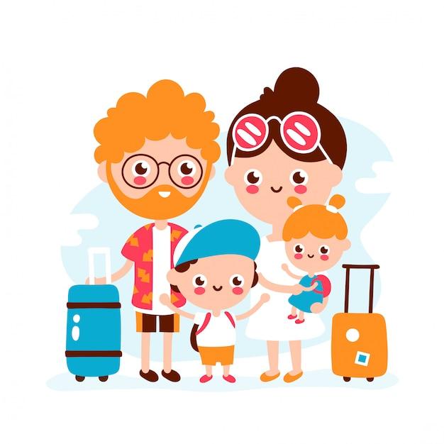 Bonita família feliz com mala de viagem Vetor Premium