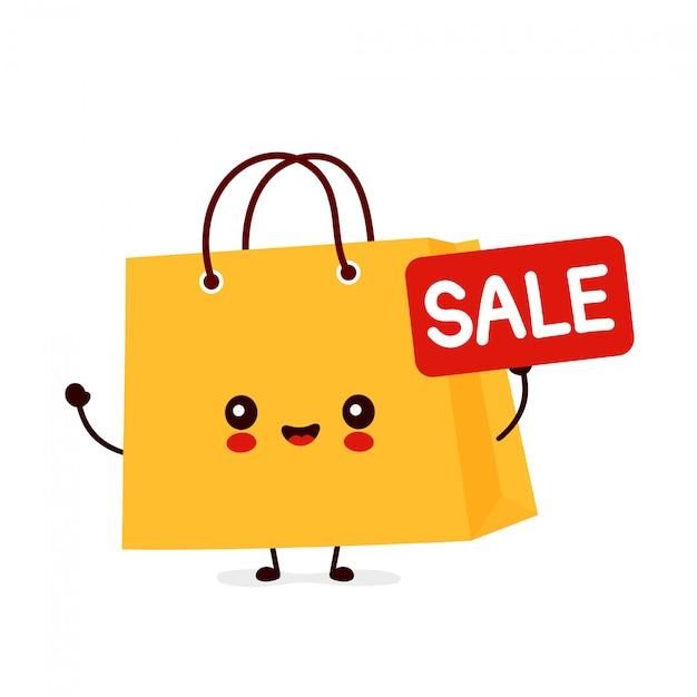Bonita feliz sacola engraçada com sinal de venda. desenho animado personagem ilustração ícone do design. Vetor Premium