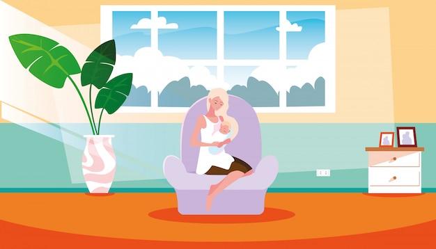 Bonita mãe carregando filho pequeno dentro de casa Vetor Premium