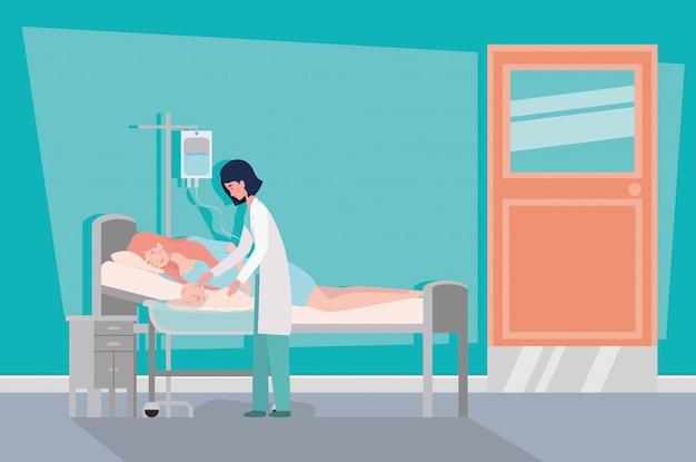 Bonita mãe com bebê recém-nascido e médico no quarto do hospital Vetor grátis
