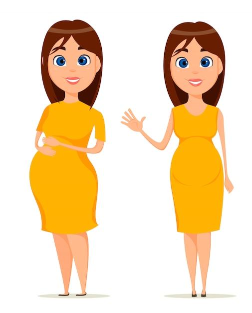 Bonita mulher grávida no vestido amarelo. linda morena mulher grávida em pé em duas poses Vetor Premium