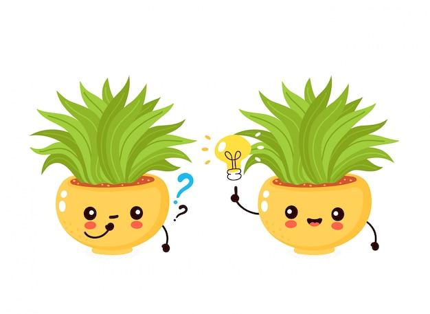 Bonita planta sorridente feliz em panela com lâmpada e ponto de interrogação. ilustração plana dos desenhos animados. isolado no fundo branco planta em vaso, conceito de planta de casa Vetor Premium