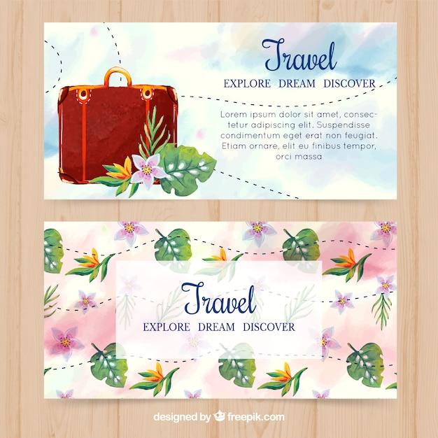 Bonitas banners de bagagem e flores de aguarela Vetor grátis
