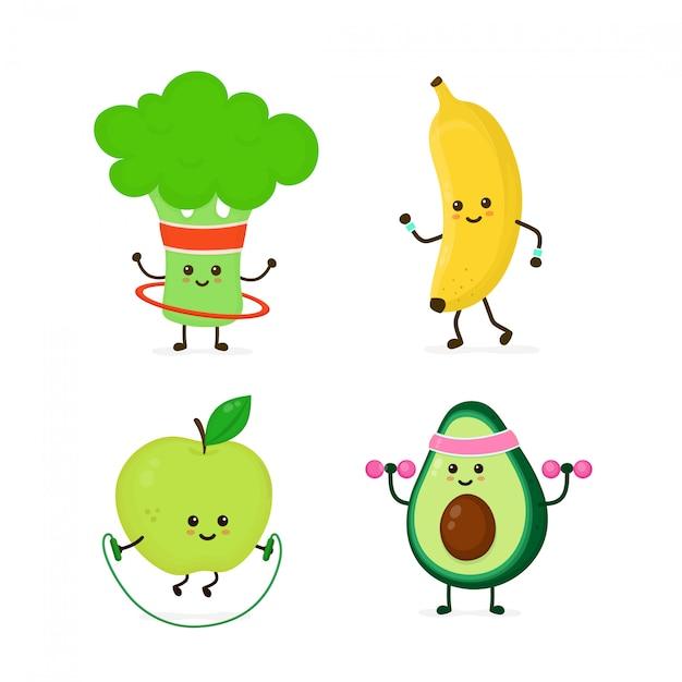 Bonitinho sorrindo comida saudável, fazendo exercício conjunto Vetor Premium
