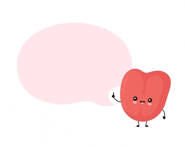 Bonitinho sorrindo feliz língua humana com bolha do discurso. ilustração plana personagem dos desenhos animados. isolado no branco. caráter da língua humana Vetor Premium