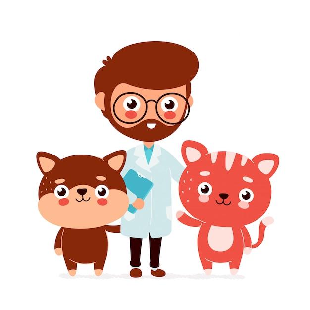 Bonitinho sorrindo feliz médico veterinário com um gato e um cachorro Vetor Premium