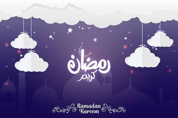 Bonito, 2018, santissimo, ramadan, mubarak, fundo Vetor Premium