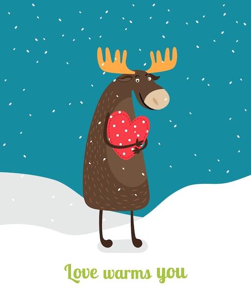 Bonito alce de pé na neve, abraçando um coração vermelho sob os flocos de neve caindo. o amor te aquece. Vetor grátis